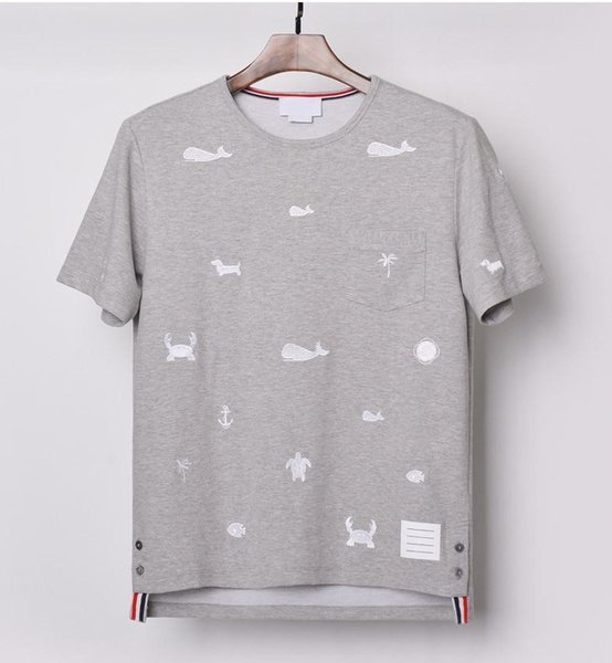 2019 Summer Pure cotton Round collar Marine animal and whale embroidery t-shirt Men and women alike