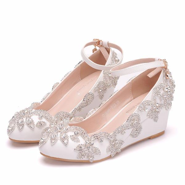 Crystal Queen Wedding Shoes Bride High Heels Crystal Pumps Wedges Evening Party Dress Elegant Shoes Heel BIG Size 41