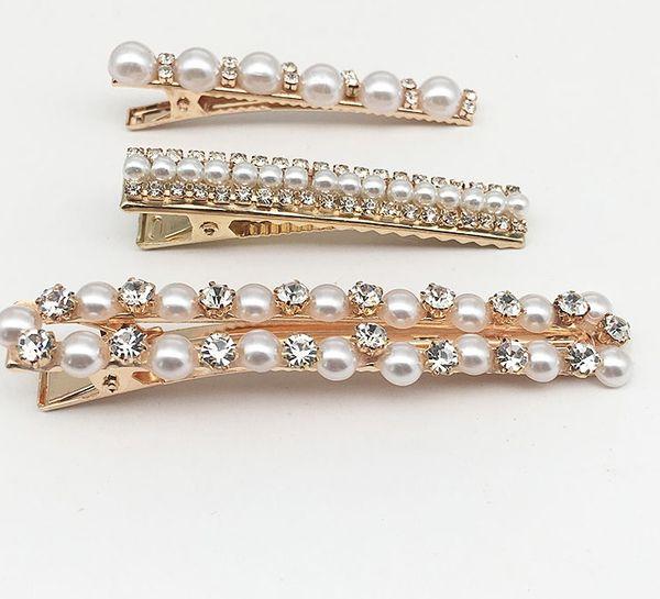 INS Web Celebrity a Hand-Knitted Versatile Pearl Flower Hair Clip Water Drill Hair Edge Hair Accessories