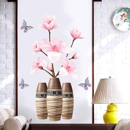 70*100cm DIY Lotus Vintage Poster Vinyl Wall Sticker Chinese Style 3D Flower Antique Vase Living Room Bedroom Decor Mural D19010902