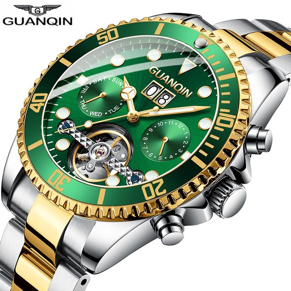 2019 New Guanqin Clock Automatic Diving Watch Mechanical Swimming Waterproof Tourbillon Style Clock Men Luxury Relogio Masculino Y19051603
