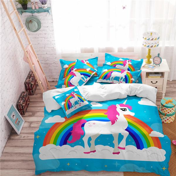 3D Digital Printing Rainbow Unicorn Fairytale with Sparkling Stars Bedding Sets 100% Microfiber Pink/White Background 3/4pcs