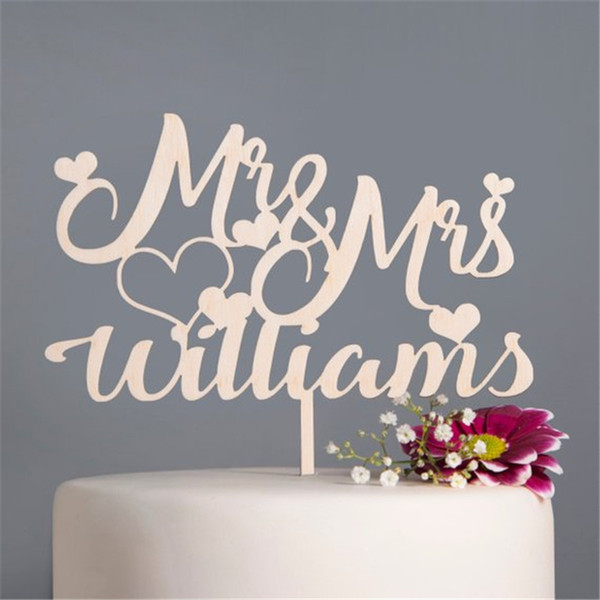 Personalised Wedding Cake Topper Mr & Mrs Heart Custom Couple Name Cake Topper Wooden Rustic Wedding Decoration