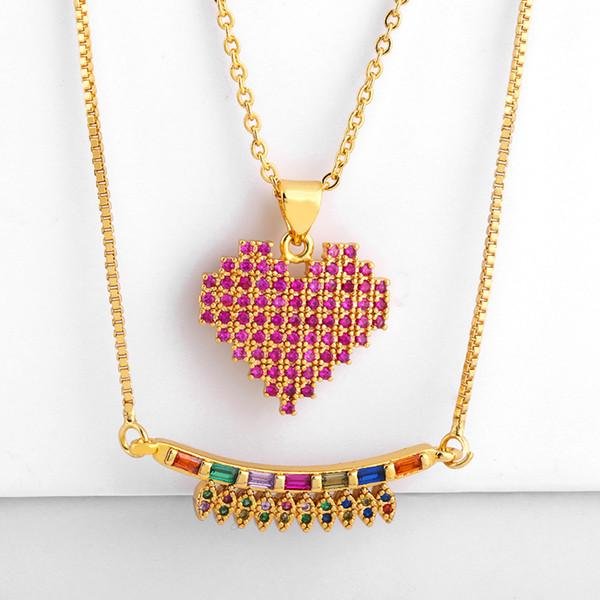 Лучшие продажи высокое качество 18k позолоченный красочные циркон камень ожерелье роскошный дизайн женщины ожерелье для подарка