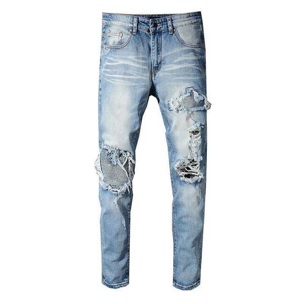 Moda Mens Designer de Jeans de Luxo Angustiado Zipper Jeans Rasgado Calças Jeans Mens Designer de Alta Qualidade Calças de Motociclista Tamanho 28-42