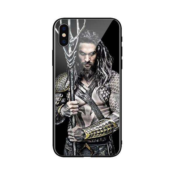 Fabricação super hero aquaman phone case iphone 6 6 s 7 8 7 mais 8 plus x xs xr xsax vidro + tpu samsung huawei htc blackberry