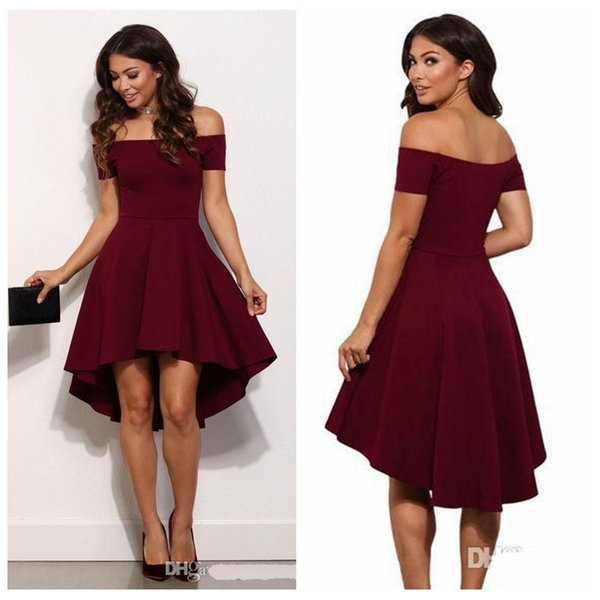 Short Sleeves Burgundy Short Homecoming Dress Off the Shoulder Knee Length Semi Formal Party Dress Simple Cheap