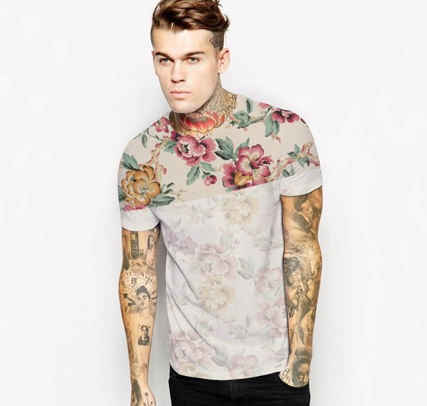Wholesale Free Shipping Summer 3D Wolf /Flower Printed T shirt Casual Cotton Animal Tee Shirt For Women Men