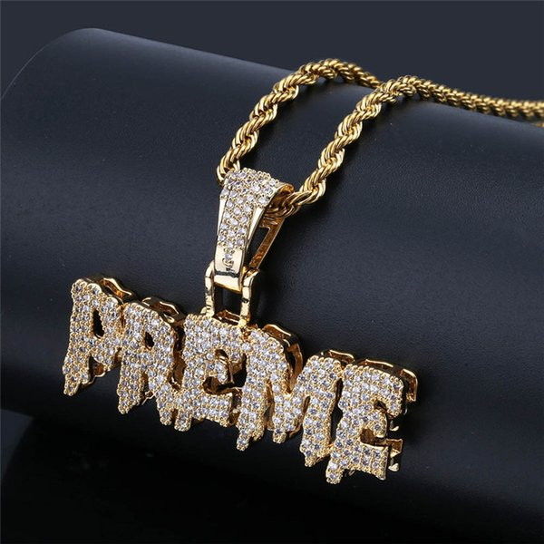 PREME Lettre Pendentif Collier Glacé Sur Micro Pavé CZ Pierres Or Argent Couleur Hip Hop Miami Chaîne Cubaine Hommes Bijoux Cadeau