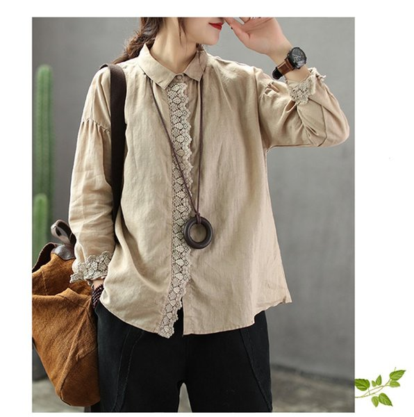 2019 Fashion Women Loose Cotton Linen Blouses Summer Lace Patchwork Hollow Out Shirts Solid Casual Long Sleeve Tops