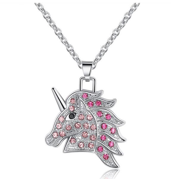Animal mignon collier de licorne rose pour les femmes en rhodium plaqué tête collier avec pendentif pour les filles meilleurs cadeaux