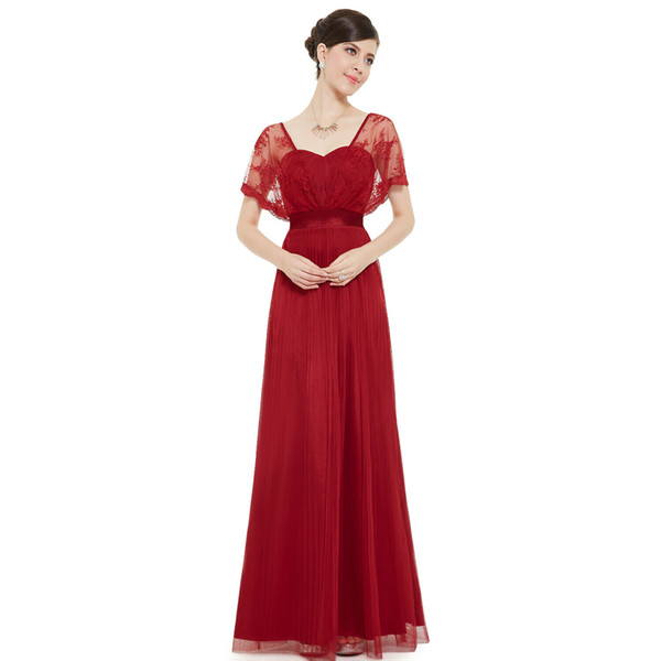 Dark Red Women Open Back High Waist Short Sleeve A Line Mother of the Bride Dresses Lace Tulle Burgundy Belt Bridesmaid Party Gowns