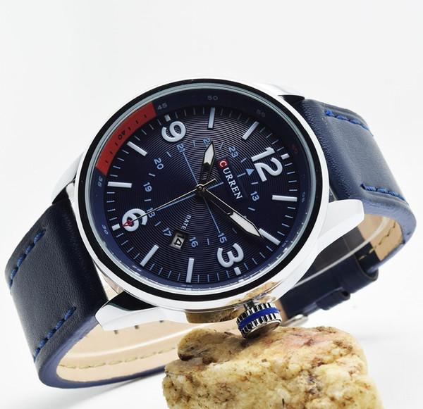 Curren 8215 erkek saatler top marka lüks mavi erkek saat adam kuvars-saatler erkekler kol hodinky relogio