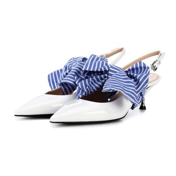 Yavru Topuklu sivri Elbise ayakkabı Kadın Büyük Kelebek düğüm Yüksek topuk Ayakkabı Beyaz Deri kadın ayakkabı pompalar