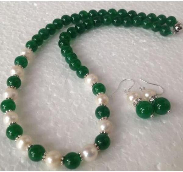 LIVRAISON GRATUITE + + 7-8mm Collier de perles de culture Akoya blanches 8mm avec pierre verte 18 ''