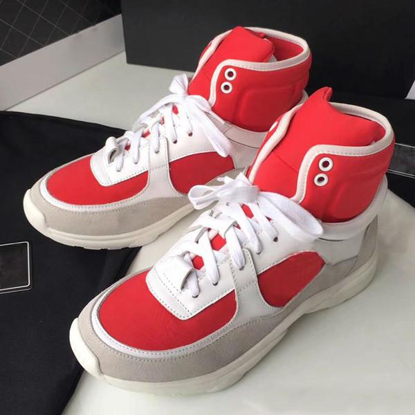 2019 Yüksek Kalite Eşleşen Marka C Mektup LOGO Bağcıklı Sneakers Yüksek Ayakkabı Renkli Sneakers Çizmeler Moda Eğlence Ayakkabı