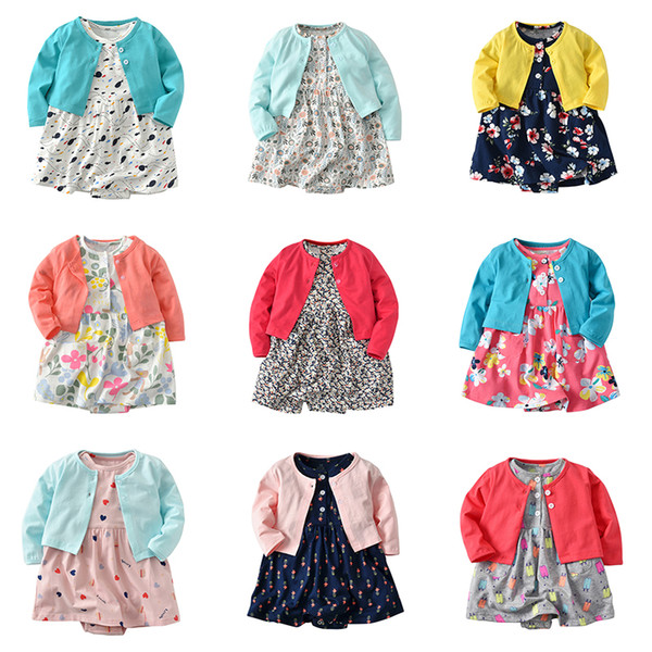 Baby Girl Romper Dress Long Sleeve Cardigan and Cotton Floral 2 Piece Outfits 17 Designer Style Baby Girl Clothes Sets 18013101