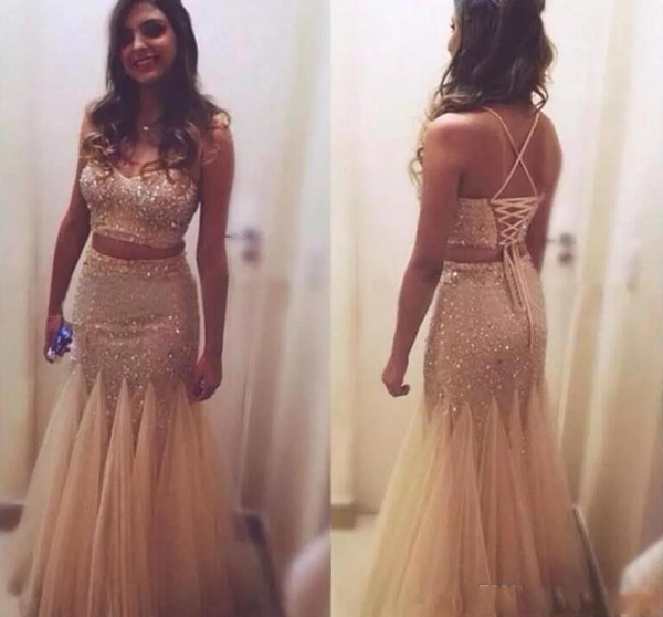 Sexy Champagne Two Piece Mermaid Prom Dresses 2018 Sweetheart Sparkly Sequins Straps Evening Gowns Vestidos de Fiesta BA8888