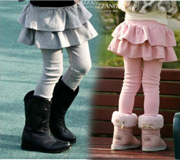 Autumn Winter Girl Cotton Ruffles Pants Kids Clothing Fashion Stretchy Leggings Children Candy color Soft warm Tights