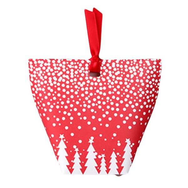 1Pcs 12*10cm Christmas Red Paper Bag With white snowflake Festival Party Candy & Muffin & Bakery Packaging Gift Bags