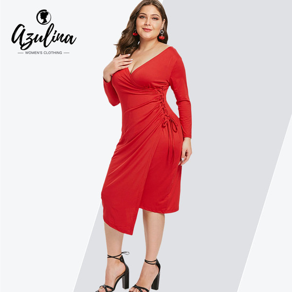 f9dcb20053 AZULINA Plus Size Sexy Plunging Neck 3 4 Sleeves Bodycon Dress Women Dresses  Vestidos Fall Winter Ladies Dress Big Size Clothes