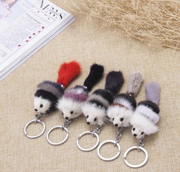 New Cute Fluffy Crown Fox Ball Key Chain Rings Pompom Artificial Fox Fur Charm Keychain Car Bag Key Ring Women Jewelry