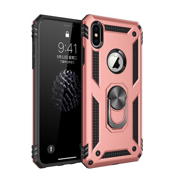 2019 mais recente grau militar para o iphone 7 plus armor case defender kickstand phone case montagem do carro anel de dedo para iphone x case