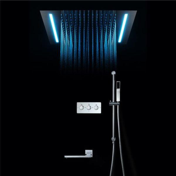Électricité de luxe Puissance Led Set de douche Plafond Encastré 4 Fonction ShowerHead Big Rain Shower Spa Massage Shower System 360 * 500
