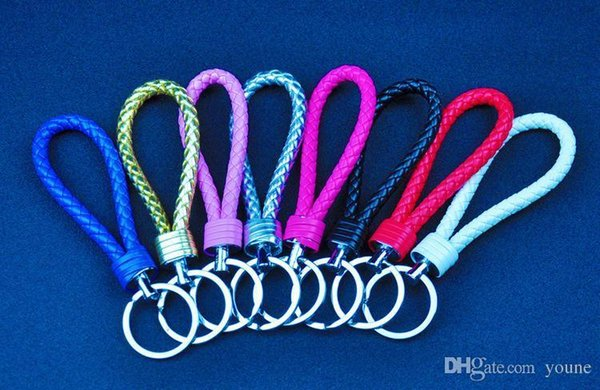 20pcs/lot Creative Knit Hand Knitting Key Chain Lovers Keychain Leather Hide Rope Car Key Chain Small Gifts Multicolor Mixed
