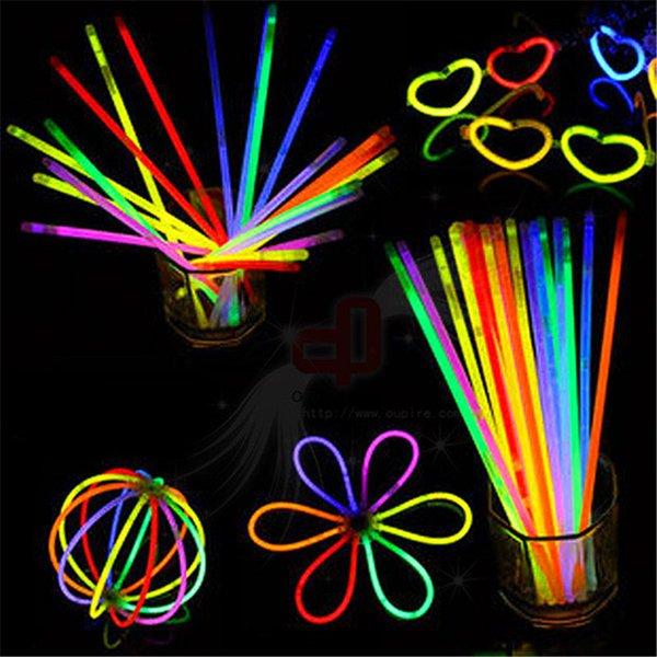 Многоцветный Горячий Свечение Браслет Ожерелья Neon Party LED Мигающий Светильник Палочка Палочка Новизна Игрушка LED Вокальный Концерт СВЕТОДИОДНЫЕ Флэш-Палочки 100 шт.