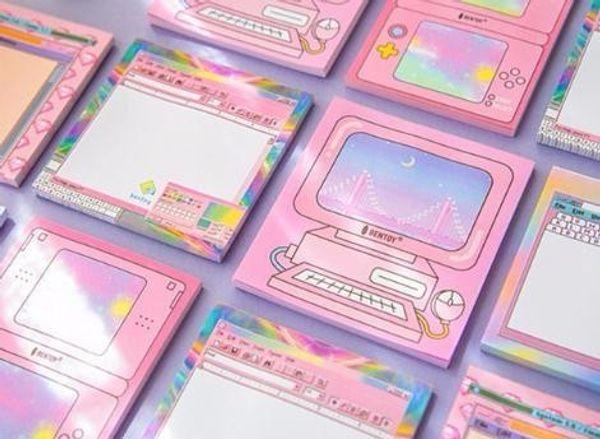 2019 1X Kawaii machine forme Post-it Notes Post Memo Pad Fournitures Scolaires Planificateur Autocollants Papier Signets Papeterie