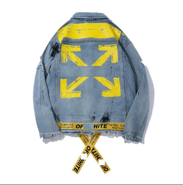 Of white Designer Men denim jackets hip hop sports fashion hoodies street jogger denim jacket mens casual sweater man woman Couple Outerwear