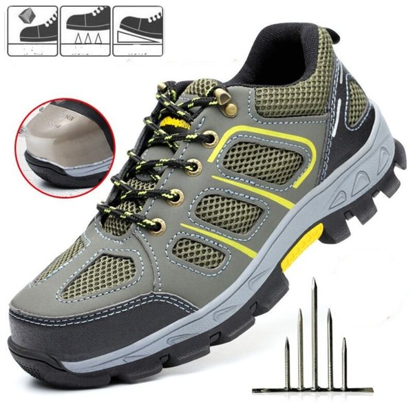 Mens Safety Shoe Steel Toe Cap Sport Outdoor Work Hiking Trail Breathable Shoes Protective Footwear Trainers boots