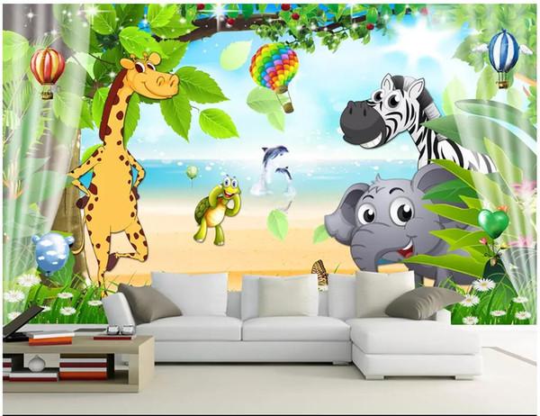 Papel de parede 3D Personalizado Foto mural Papel De Parede bonito dos desenhos animados para crianças quarto fresco das crianças quarto fundo pintura de parede