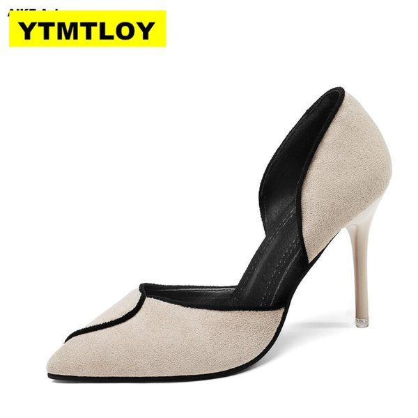 2019 summer brand women pumps high heels pointed toe office dress party side hollow colorblock 8 cm