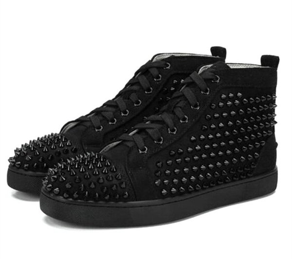 Scarpe grande formato Eur36-46 Designer Shoes High Cut inferiore rossa Spike Sedue vitello Sneaker lusso festa di nozze del cuoio genuino dei pattini casuali