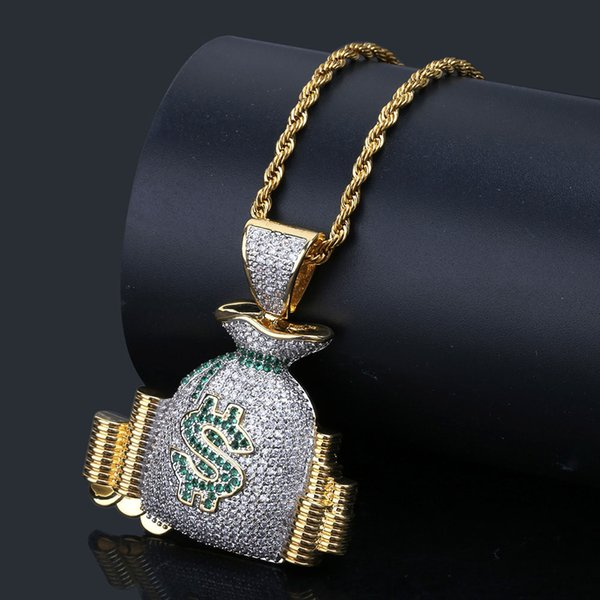 Hip Hop Rope Chain USD Dollar Purse Charm Pendant Necklaces For Men Women Gold Bling CZ US Bag Jewelry Top quality Fine Jewelry
