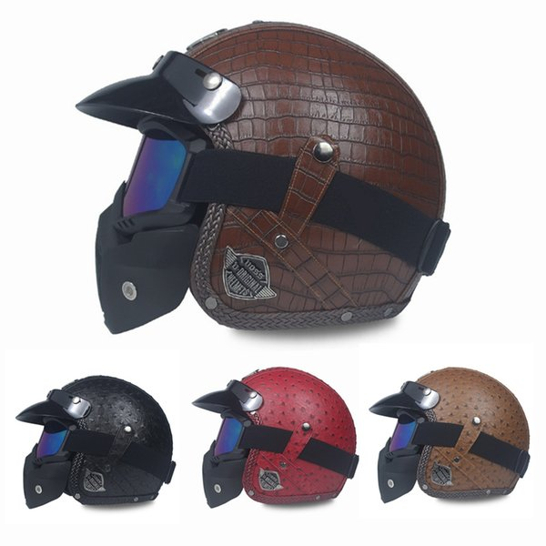 New Motorcycle Helmet Retro Vintage Synthetic Leather Open Face Helmet Motorbike Scooter Cruiser Chopper Casco Moto DOT