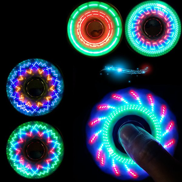LED Finger Fidget Spinner Hand Toys Anti Anxiety Triple Spinners 9 LED Lights Design With Switch Spinning 6 Colors Wholesale
