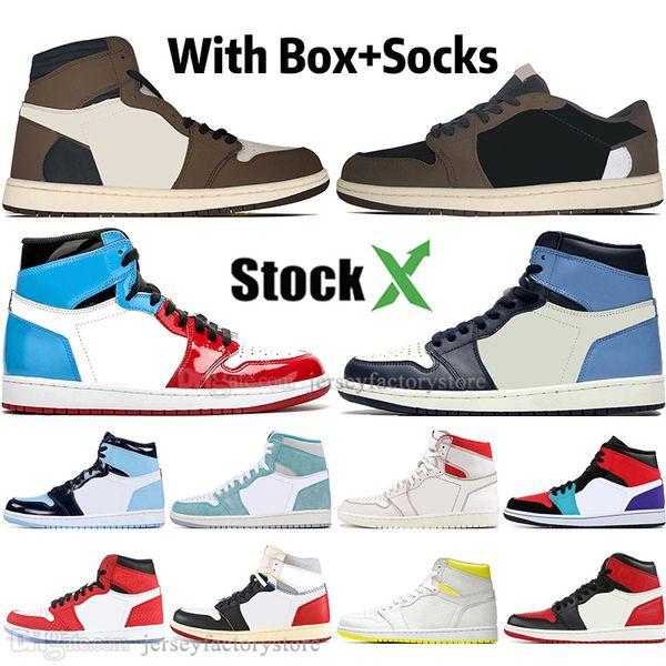 1 Yüksek Travis Scotts Düşük Korkusuz Obsidyen Erkek Basketbol ayakkabı Spiderman UNC 1 s üst 3 Yasağı Bred Toe Erkekler Spor Tasarımcısı Sneakers