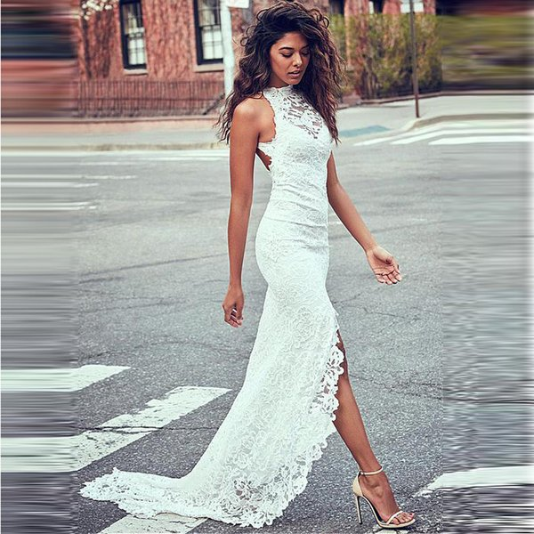 2019 Mermaid Prom Dresses white backless Split Side High Long Sleeves Black With Gold Lace Applique Evening Gowns Formals Wear