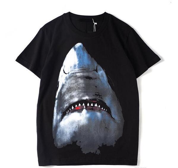 2019 Mens Designer T Shirt Designer Casual Short Sleeves Fashion Shark Printing High Quality Men Women Hip Hop Tees