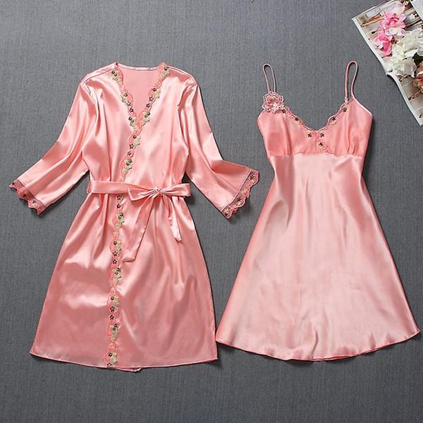 2019 été sexy deux pièces robe de femmes ensembles soie soie belle nuit lingerie jupe femmen ensembles femmes vêtements de nuit vêtements de nuit dames