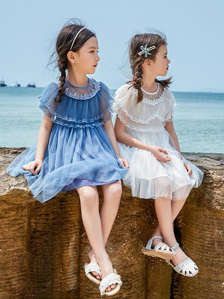 9bf206f11f5a3 Kızın elbisesi 2019 yeni stil yazlık elbise Koreli versiyonu çocuk yaz  aylarında yabancı kızların üzerine örgü elbise çocuk etek.