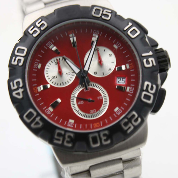 Formula One Chronograph Red Dial Steel Blacl Bezel Steel Strap Quartz Battery Movement Men Wristwatches F1 Tag Mens Watches