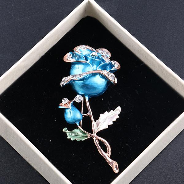 Nouveau Type Rose Broche En Alliage Avec Strass Garniture Cadeau Épingles Bleu Rouge Caractéristique Élégante Broches Broches
