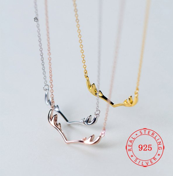 Hotsale Simple Antler Design Fashion Jewellery Gold Plated Deer Horn Necklace Korea 925 Sterling Silver Pendant Necklace For Women