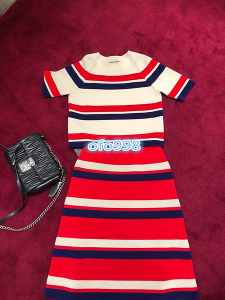 High end women girls crew neck knitting Short stripe Sleeve T-Shirt tops And For Womens Fashion A-line skirt dresses 2 Pieces Sets