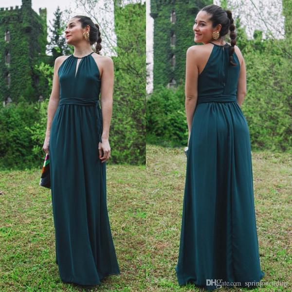 2020 New Garden Gelinlik Giydirme Resmi elbise için Düğünler A Hattı Backless Hater şifon Uzun Genç Nedimeler Abiye Giyim CPS868