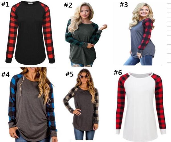 best selling S-5XL Plaid Panel Raglan Women T Shirt Long Sleeve Patchwork Blouses Spring Autumn T-shirt Casual Pullover Tops Ladies Tshirts Blouse New